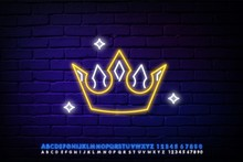 Yellow Crown Night Bright Advertisement Element. Gambling Concept For Neon Sign Design. Vector Illustration In Neon Style For Online Casino, Slot Machine, Jackpot