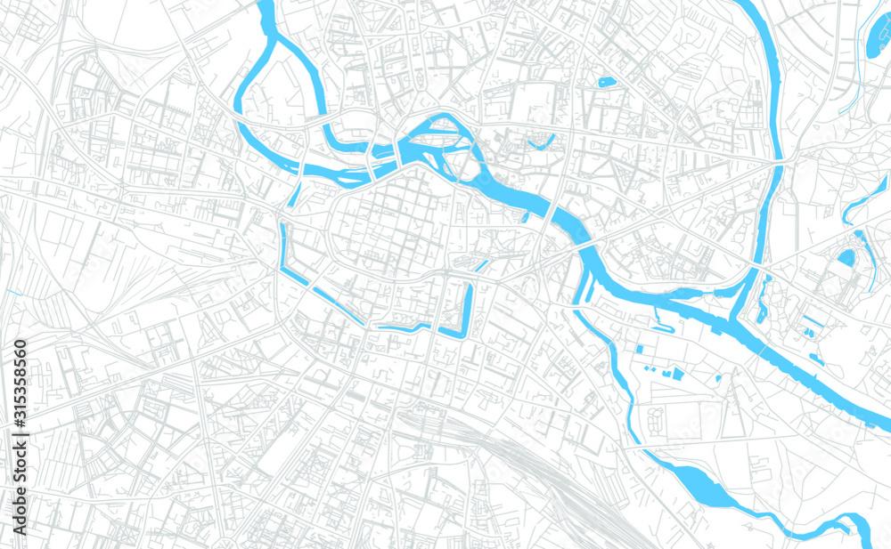Wrocław, Polska mapa jasny wektor