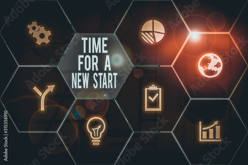 Photo Text sign showing Time For A New Start