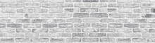 White Washed Shabby Brick Wall Wide Texture. Large Light Gray Rustic Brickwork Wallpaper. Whitewashed Panoramic Vintage Background