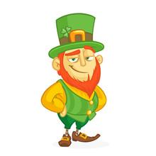 Cartoon Funny Leprechaun. Vector Illustration. St. Patrick's Day