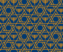 Jewish Star Of David And Menorah Seamless Pattern