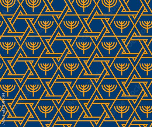 Fototapeta Jewish Star of David and Menorah seamless pattern obraz