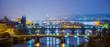 Leinwanddruck Bild - night view of charles bridge in prague