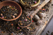 Dry Tea Leaves On A Side Backg...