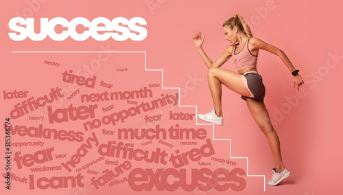 Fotografía Motivated young woman running by stairs to success lettering