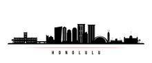 Honolulu Skyline Horizontal Banner. Black And White Silhouette Of Honolulu, Hawaii. Vector Template For Your Design.