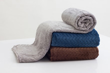 Stack Of Folded Soft Blankets
