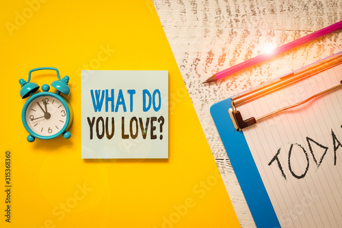 Writing note showing What Do You Love Question Canvas Print