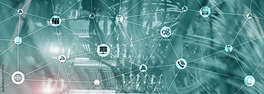 Fototapeta Website Banner Mixed Media. IOT - internet of things concepts. ICT - information and telecommunication technology