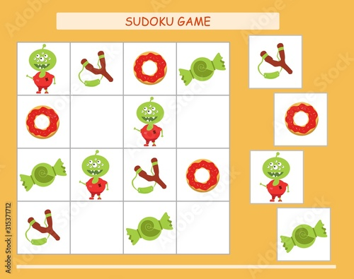 Sudoku for kids with pictures. Kids activity sheet. Training logic, educational game. Sudoku game with funny monsters.
