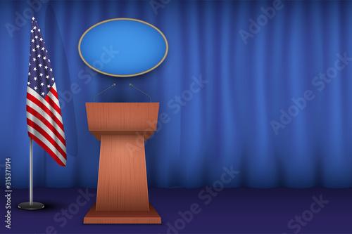 Wooden Podium Speaker Tribune USA White House Interior Canvas Print