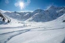 Cross Country Skier On A Track, Sportgastein Ski Resort, Gastein, Salzburg, Austria