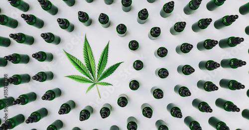 Obraz CBD, Cannabidiol oil bottles with a hemp leaf. Concept of herbal alternative medicine, cbd oil, pharmaceutical industry - fototapety do salonu