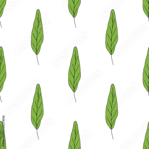 Seamless background with green oblong leaves on white background. Endless pattern for your design. Vector. Wall mural