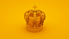 Royal Gold Crown On Yellow Bac...