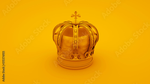 Royal gold crown on yellow background Canvas Print