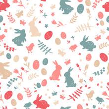 Cute Hand Drawn Easter Seamles...