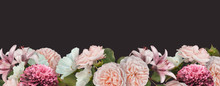 Border Floral Banner, Header With Copy Space. Pastel Pink Roses, Zinnia And Lily Isolated On Dark Background. Natural Flowers Wallpaper Or Greeting Card.