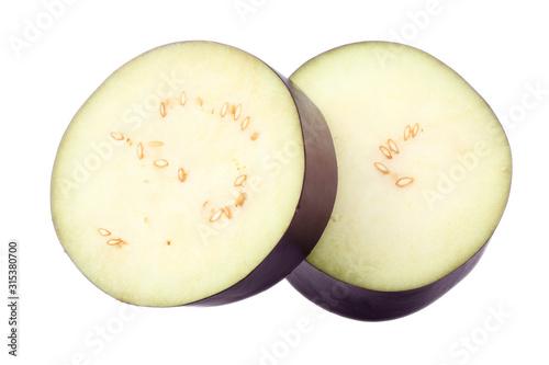 Fototapeta fresh sliced eggplant isolated on white background. top view obraz