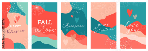 Obraz Vector set of Valentines day abstract backgrounds with copy space for text - banners, posters, cover design templates, social media stories wallpapers. Vector design - fototapety do salonu