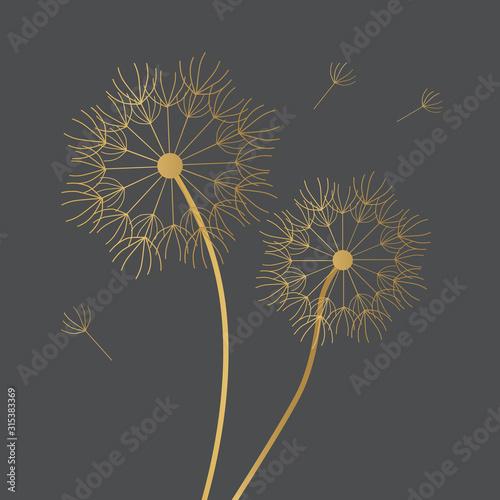 Fototapeta golden dandelion icon- vector illustration obraz