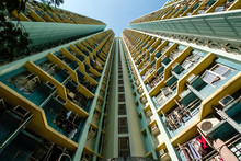 Looking Up On High-rise Apartm...
