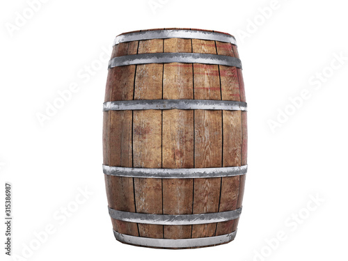 Wooden barrel isolated on white background 3d illustration no shadow Wallpaper Mural