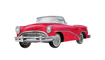 Red vintage car. Watercollor illustration isolated on white background