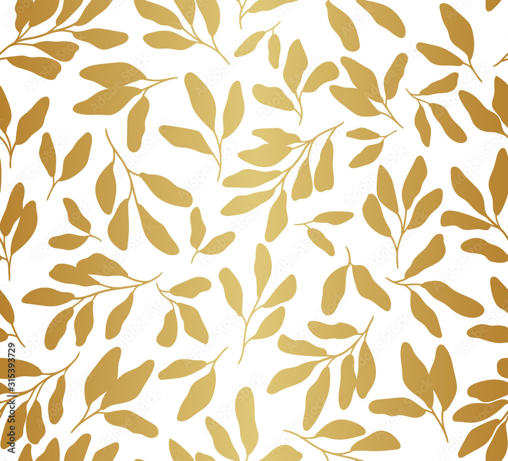 Fototapeta Vector hand drawn leaves seamless pattern. Abstract trendy floral background. Repeatable texture.
