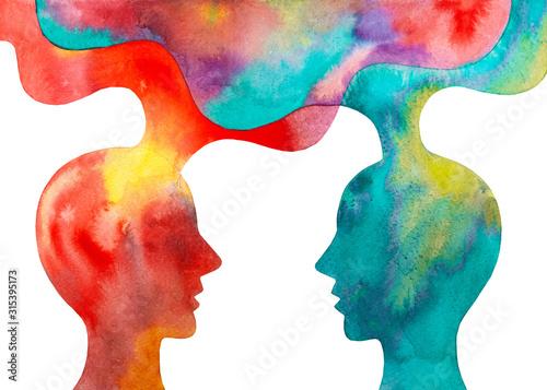 Fotografie, Obraz Disegno grafico due persone che si scambiano le idee sfondo bianco