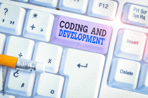 Word writing text Coding And Development Wallpaper Mural