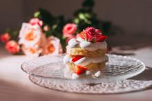 Sponge Cake With White Cream A...