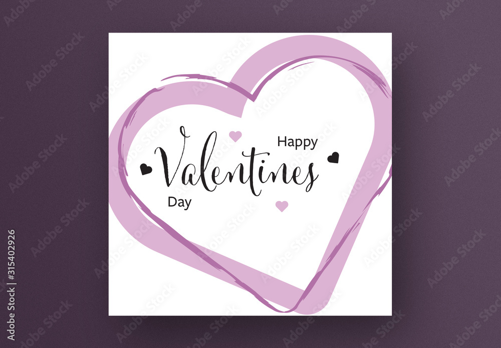Fototapeta Happy Valentine's Day Card Layout with Rose Color Hearts
