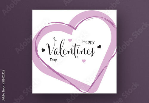 Obraz Happy Valentine's Day Card Layout with Rose Color Hearts - fototapety do salonu