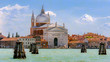 Venice, VENETO/ITALY  AUGUST 20 2015: CHURCH OF THE SANTISSIMO REDENTORE view from Grand canal. Venezia