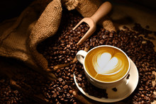 Cup Of Coffee Latte With Heart...