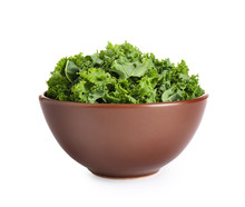 Fresh Green Kale Leaves Isolat...