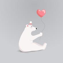Vector Illustration With An Adorable Funny Polar Bear With Heart-balloon. Happy Valentine's Day Card Or Invitation. Polar Bear Cartoon Character Love Concept. I Love You.