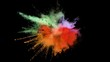 Colored powder explosion, abstract close up dust isolated on black background in slow motion