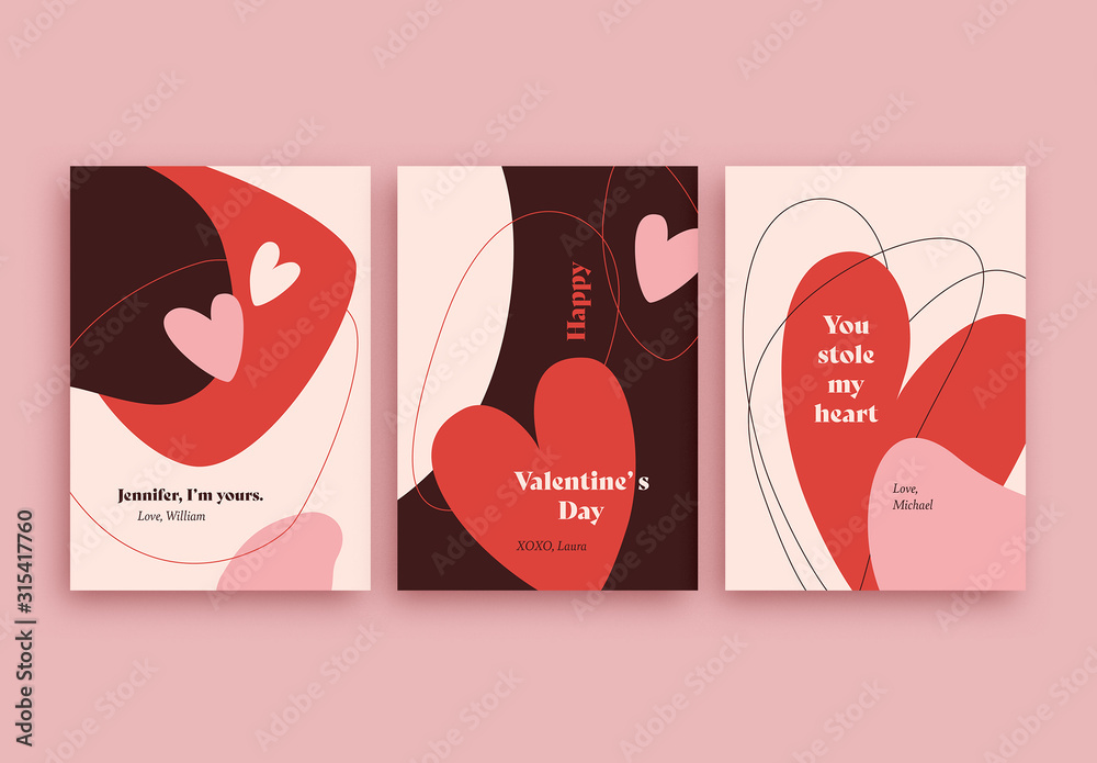 Fototapeta Valentine's Day Card Layout Set