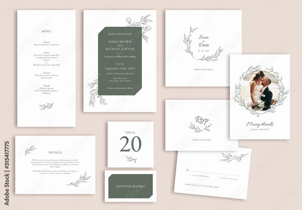 Fototapeta Wedding Suite Layout Set with Leaf Illustrations