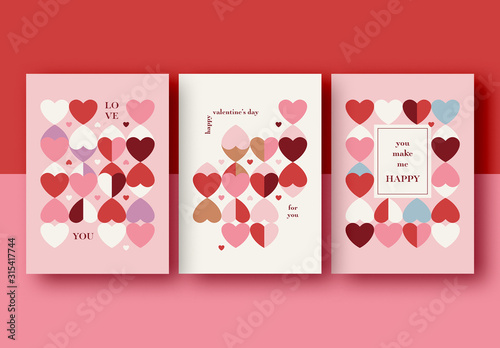 Fototapeta Valentine's Day Card Layout Set obraz