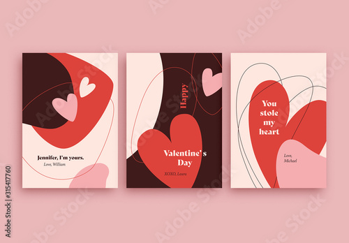 Obraz Valentine's Day Card Layout Set - fototapety do salonu