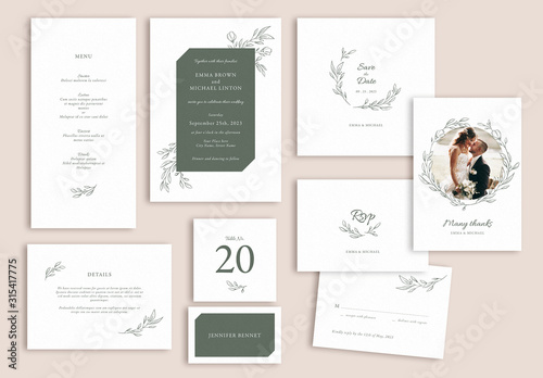 Obraz Wedding Suite Layout Set with Leaf Illustrations - fototapety do salonu