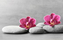 Spa Stones And Orchid Flower O...