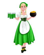 Happy St Patricks Day. Young Girl