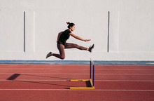 Female Hurdler During Training...