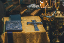 Church Ordinance Orthodox And Wedding, Church Wedding, Religious Of A Child In Church, Icons, Orthodox Church, Candles, Interior Of The Orthodox Church, Bible, Font