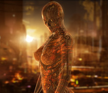 Cyborg Woman Character With Tr...
